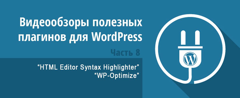 Видеообзоры полезных плагинов для WordPress - (HTML Editor Syntax Highlighter, WP-Optimize)